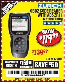 Harbor Freight Coupon ZURICH OBD2 CODE READER WITH ABS ZR11 Lot No. 63807 Expired: 11/9/19 - $119.99