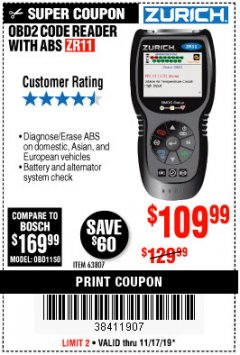 Harbor Freight Coupon ZURICH OBD2 CODE READER WITH ABS ZR11 Lot No. 63807 Expired: 11/17/19 - $109.99