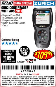 Harbor Freight Coupon ZURICH OBD2 CODE READER WITH ABS ZR11 Lot No. 63807 Expired: 11/24/19 - $109.99