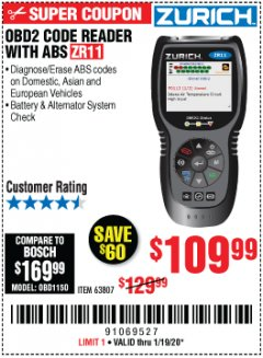 Harbor Freight Coupon ZURICH OBD2 CODE READER WITH ABS ZR11 Lot No. 63807 Expired: 1/19/20 - $109.99