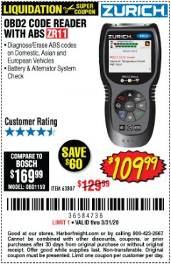 Harbor Freight Coupon ZURICH OBD2 CODE READER WITH ABS ZR11 Lot No. 63807 Expired: 3/31/20 - $109.99