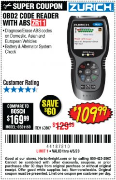 Harbor Freight Coupon ZURICH OBD2 CODE READER WITH ABS ZR11 Lot No. 63807 Expired: 6/30/20 - $109.99