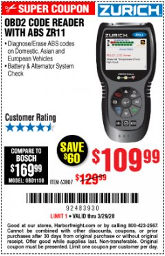 Harbor Freight Coupon ZURICH OBD2 CODE READER WITH ABS ZR11 Lot No. 63807 Expired: 3/29/20 - $109.99