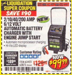 Harbor Freight Coupon 2/10/40/200 AMP 6/12 VOLT AUTOMATIC BATTERY CHARGER WITH ENGINE JUMP START Lot No. 56422 Expired: 6/30/18 - $99.99