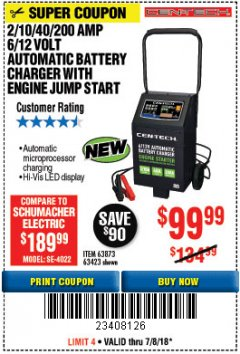 Harbor Freight Coupon 2/10/40/200 AMP 6/12 VOLT AUTOMATIC BATTERY CHARGER WITH ENGINE JUMP START Lot No. 56422 Expired: 7/8/18 - $99.99