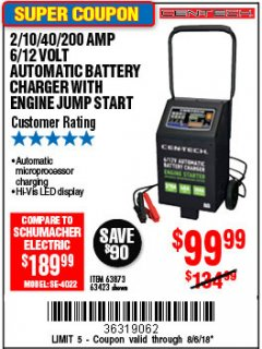 Harbor Freight Coupon 2/10/40/200 AMP 6/12 VOLT AUTOMATIC BATTERY CHARGER WITH ENGINE JUMP START Lot No. 56422 Expired: 8/6/18 - $99.99