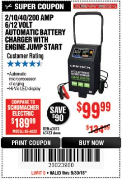 Harbor Freight Coupon 2/10/40/200 AMP 6/12 VOLT AUTOMATIC BATTERY CHARGER WITH ENGINE JUMP START Lot No. 56422 Expired: 9/30/18 - $99.99