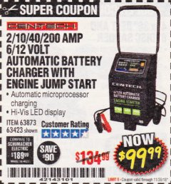 Harbor Freight Coupon 2/10/40/200 AMP 6/12 VOLT AUTOMATIC BATTERY CHARGER WITH ENGINE JUMP START Lot No. 56422 Expired: 11/30/18 - $99.99