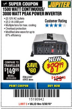 Harbor Freight Coupon 1500 WATT CONTINUOUS/3000 WATT PEAK POWER INVERTER Lot No. 60601/61628/63427/63432 Expired: 9/30/18 - $89.99
