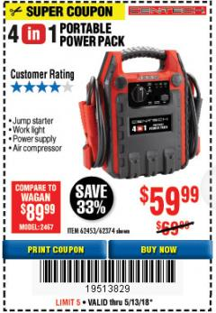 Harbor Freight Coupon 4-IN-1 JUMP STARTER WITH AIR COMPRESSOR Lot No. 60666/69401/62374/62453 Expired: 5/13/18 - $59.99