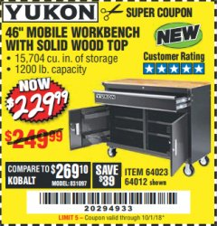 "Harbor Freight Coupon YUKON 46"" MOBILE WORKBENCH WITH SOLID WOOD TOP Lot No. 64023 Expired: 10/1/18 - $229.99"