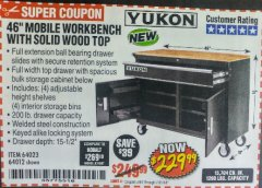 "Harbor Freight Coupon YUKON 46"" MOBILE WORKBENCH WITH SOLID WOOD TOP Lot No. 64023 Expired: 7/31/18 - $229.99"