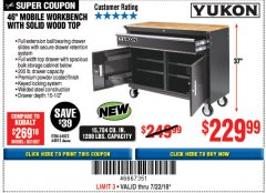 "Harbor Freight Coupon YUKON 46"" MOBILE WORKBENCH WITH SOLID WOOD TOP Lot No. 64023 Expired: 7/22/18 - $229.99"