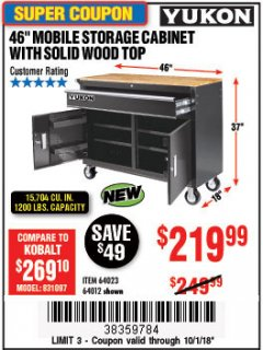 "Harbor Freight Coupon YUKON 46"" MOBILE WORKBENCH WITH SOLID WOOD TOP Lot No. 64023 Expired: 10/1/18 - $219.99"