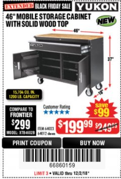 "Harbor Freight Coupon YUKON 46"" MOBILE WORKBENCH WITH SOLID WOOD TOP Lot No. 64023 Expired: 12/2/18 - $199.99"
