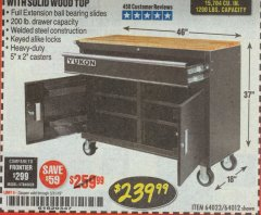 "Harbor Freight Coupon YUKON 46"" MOBILE WORKBENCH WITH SOLID WOOD TOP Lot No. 64023/64012 Expired: 3/31/19 - $239.99"