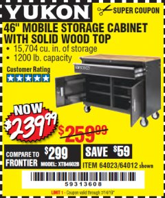 "Harbor Freight Coupon YUKON 46"" MOBILE WORKBENCH WITH SOLID WOOD TOP Lot No. 64023/64012 Valid Thru: 7/14/19 - $239.99"