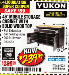 "Harbor Freight Coupon YUKON 46"" MOBILE WORKBENCH WITH SOLID WOOD TOP Lot No. 64023/64012 Valid Thru: 5/31/19 - $239.99"