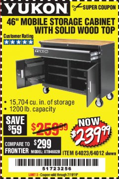 "Harbor Freight Coupon YUKON 46"" MOBILE WORKBENCH WITH SOLID WOOD TOP Lot No. 64023/64012 Valid Thru: 7/19/19 - $239.99"