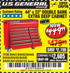 "Harbor Freight Coupon 44"" X 22"" DOUBLE BANK ROLLER CABINET Lot No. 64281/64134/64133 EXPIRES: 11/10/18 - $449.99"