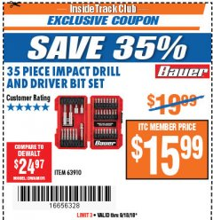 Harbor Freight ITC Coupon 35 PIECE IMPACT DRILL AND DRIVER BIT SET Lot No. 63910 Expired: 9/18/18 - $15.99