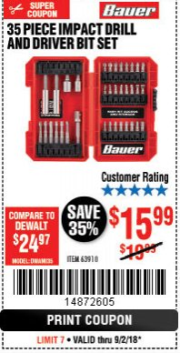 Harbor Freight Coupon 35 PIECE IMPACT DRILL AND DRIVER BIT SET Lot No. 63910 Expired: 9/2/18 - $15.99