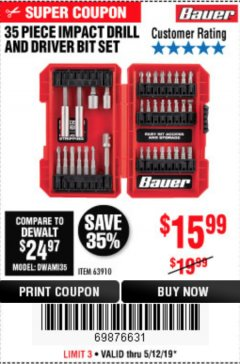 Harbor Freight Coupon 35 PIECE IMPACT DRILL AND DRIVER BIT SET Lot No. 63910 Expired: 5/12/19 - $15.99
