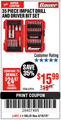 Harbor Freight Coupon 35 PIECE IMPACT DRILL AND DRIVER BIT SET Lot No. 63910 Expired: 6/16/19 - $15.99