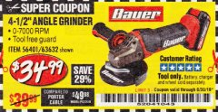 "Harbor Freight Coupon 20 VOLT LITHIUM CORDLESS 4-1/2"" ANGLE GRINDER Lot No. 63632 Expired: 6/30/19 - $34.99"