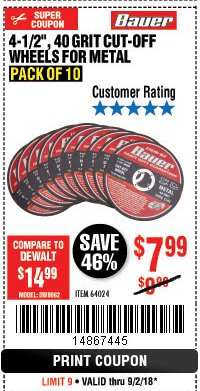 "Harbor Freight Coupon 4-1/2"", 40 GRIT METAL CUT-OFF WHEELS PACK OF 10 Lot No. 64024 Expired: 9/2/18 - $7.99"