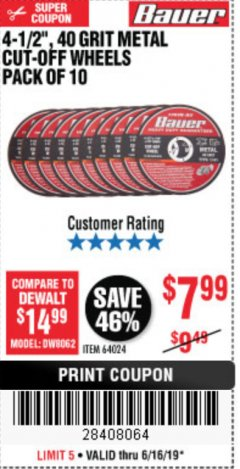 "Harbor Freight Coupon 4-1/2"", 40 GRIT METAL CUT-OFF WHEELS PACK OF 10 Lot No. 64024 Expired: 6/16/19 - $7.99"