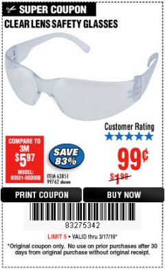 Harbor Freight Coupon CLEAR LENS SAFETY GLASSES Lot No. 63851/99762 Expired: 3/17/19 - $0.99