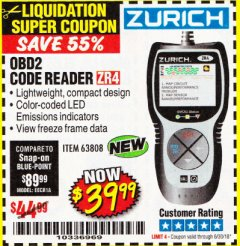 Harbor Freight Coupon ZURICH OBD2 CODE READER ZR4 Lot No. 63808 EXPIRES: 6/30/18 - $39.99
