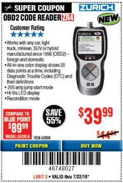 Harbor Freight Coupon ZURICH OBD2 CODE READER ZR4 Lot No. 63808 Expired: 7/22/18 - $39.99