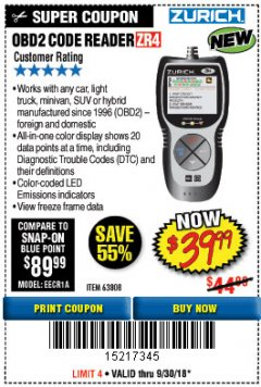 Harbor Freight Coupon ZURICH OBD2 CODE READER ZR4 Lot No. 63808 Expired: 9/30/18 - $39.99