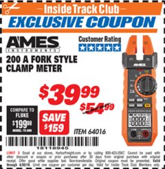 Harbor Freight ITC Coupon AMES FORK METER CM200A Lot No. 64016 Expired: 4/30/19 - $39.99
