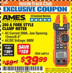 Harbor Freight ITC Coupon AMES FORK METER CM200A Lot No. 64016 Expired: 4/30/20 - $39.99