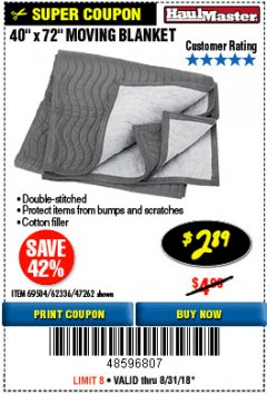 "Harbor Freight Coupon 40"" X 72"" MOVING BLANKET Lot No. 69504/62336/47262 Expired: 8/31/18 - $2.89"