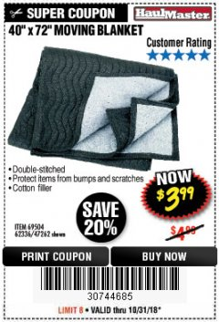 "Harbor Freight Coupon 40"" X 72"" MOVING BLANKET Lot No. 69504/62336/47262 Expired: 10/31/18 - $3.99"