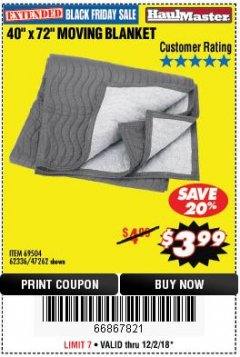 "Harbor Freight Coupon 40"" X 72"" MOVING BLANKET Lot No. 69504/62336/47262 Expired: 12/2/18 - $3.99"