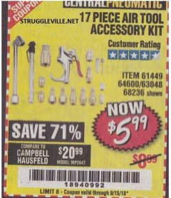 Harbor Freight Coupon 17 PIECE AIR TOOL ACCESSORY KIT Lot No. 63048/63133/61449/64132/68236 Expired: 9/15/18 - $5.99