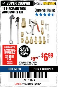 Harbor Freight Coupon 17 PIECE AIR TOOL ACCESSORY KIT Lot No. 63048/63133/61449/64132/68236 Expired: 7/21/19 - $6.99