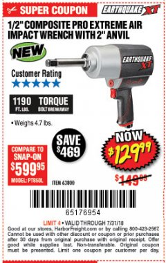 "Harbor Freight Coupon EARTHQUAKE XT 1/2"" PRO AIR IMPACT WRENCHES Lot No. 62891/63800 Expired: 7/31/18 - $129.99"