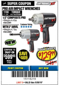 "Harbor Freight Coupon EARTHQUAKE XT 1/2"" PRO AIR IMPACT WRENCHES Lot No. 62891/63800 Expired: 9/30/18 - $129.99"