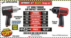"Harbor Freight Coupon EARTHQUAKE XT 1/2"" PRO AIR IMPACT WRENCHES Lot No. 62891/63800 Expired: 8/5/19 - $129.99"