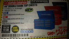 "Harbor Freight Coupon 44"" DOUBLE BANK TOP CHESTS Lot No. 64438/64439/64440/64280/64293/64158/64435/64436/64437/64957/64958/64959 Expired: 1/1/19 - $269.99"