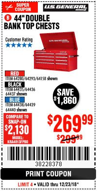 "Harbor Freight Coupon 44"" DOUBLE BANK TOP CHESTS Lot No. 64438/64439/64440/64280/64293/64158/64435/64436/64437/64957/64958/64959 Expired: 12/23/18 - $269.99"