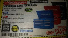 "Harbor Freight Coupon 44"" DOUBLE BANK TOP CHESTS Lot No. 64438/64439/64440/64280/64293/64158/64435/64436/64437/64957/64958/64959 Expired: 1/31/19 - $269.99"