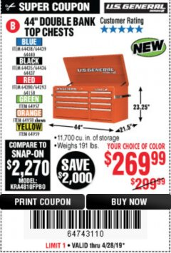 "Harbor Freight Coupon 44"" DOUBLE BANK TOP CHESTS Lot No. 64438/64439/64440/64280/64293/64158/64435/64436/64437/64957/64958/64959 Expired: 4/28/19 - $269.99"