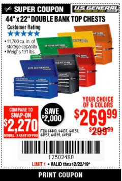 "Harbor Freight Coupon 44"" DOUBLE BANK TOP CHESTS Lot No. 64438/64439/64440/64280/64293/64158/64435/64436/64437/64957/64958/64959 Expired: 12/22/19 - $269.99"